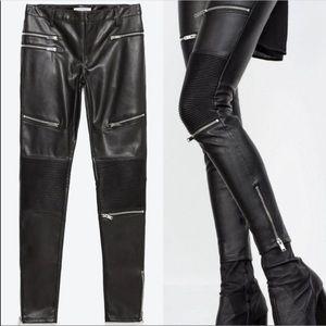 Zara Faux Leather Biker Zippered Pants